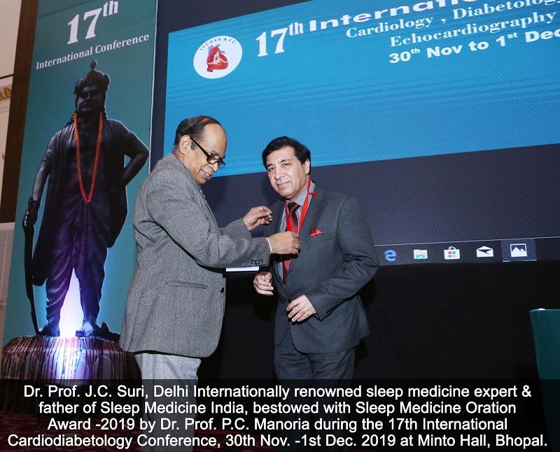 Sleep Medicine Oration Award 17th international cardiology conference 2019 Bhopal-1
