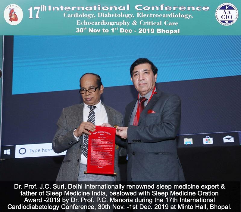 Sleep Medicine Oration Award 17th international cardiology conference 2019 Bhopal